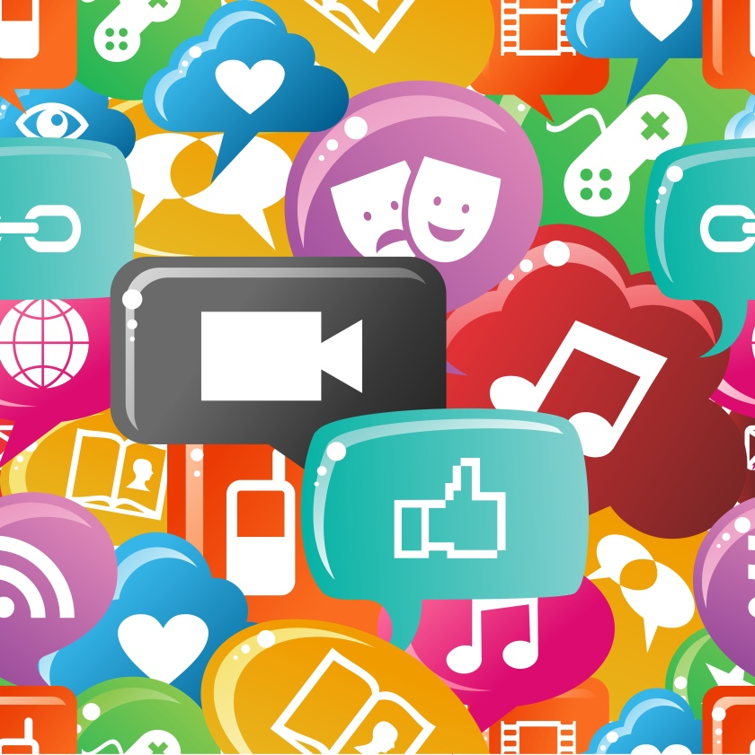 Social media icons set in colorful bubble speech pattern._shutterstock_134924579
